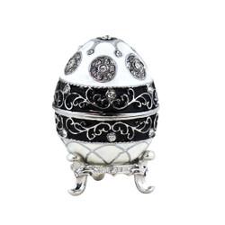 Faberge Style Jeweled Egg Trinket Box Black and White