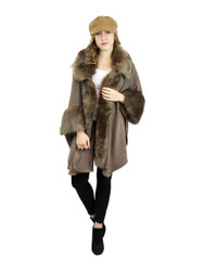 Luxurious Faux Fur Trimmed Cape Open Front Asymmetrical Wrap Khaki