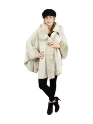 Luxurious Faux Fur Trimmed Cape Open Front Asymmetrical Wrap Beige
