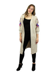 Knitted Long Cardigan Sweater Embroidered Flowers Beige