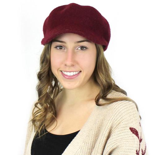 100% Wool Newsboy Cap Hat Burgundy