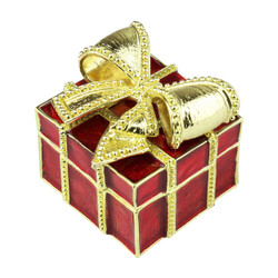 Red Pewter Gift Trinket Box with Gold Bow
