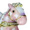 Miniature Rocking Horse Trinket Box Bejeweled Pink and Purple