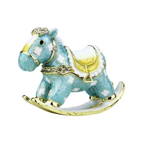 Miniature Rocking Horse Trinket Box Bejeweled Blue
