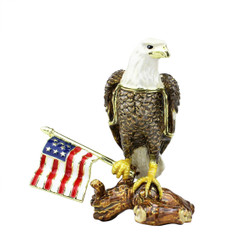 Glory Bald Eagle with American Flag Trinket Box