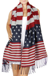 Old Glory Knitted Soft Blanket Scarf American Flag with Tassels