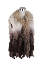 Ombre Rex Rabbit Fur Vest Beige