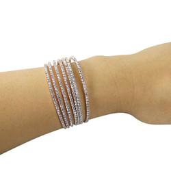 Rhinestone 7-Row Cuff Bracelet Rose Gold