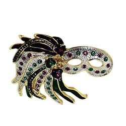 Mardi Gras Feather Mask Brooch
