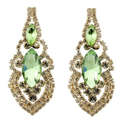 Cubic Zirconia Earrings Edwardian Style Green