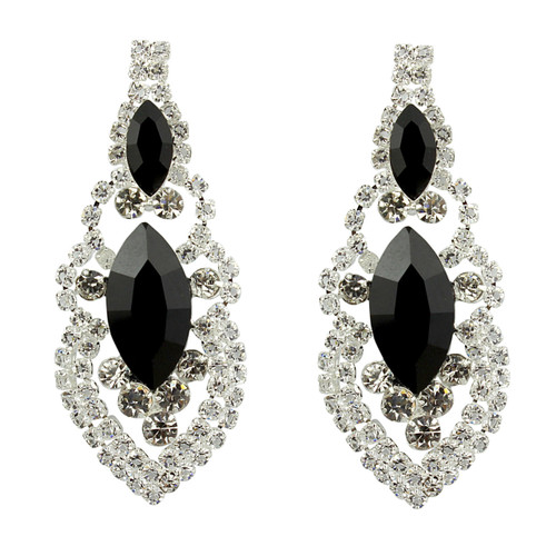 Cubic Zirconia Earrings Edwardian Style Black