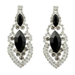 Cubic Zirconia Earrings Edwardian Style Black