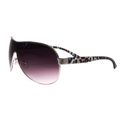 Sheild Style Sunglasses Cheetah Print Detail