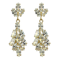 Marquise Cut Cubic Zirconia Floral Earrings Gold