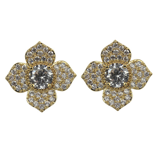 Cubic Zirconia Flower Petal Stud Earrings Gold