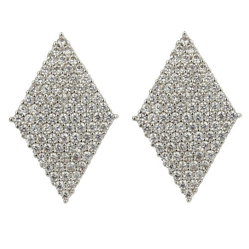 Diamond Shaped Cubic Zirconia Stud Earrings Invisible Setting Silver