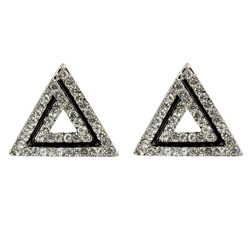 Art Deco Triangle Shaped Stud Earrings Cubic Zirconia Silver