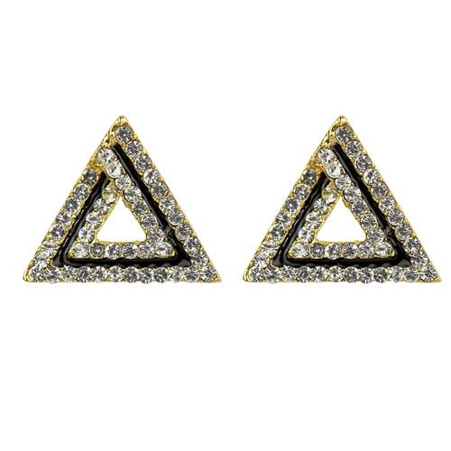 Art Deco Triangle Shaped Stud Earrings Cubic Zirconia Gold