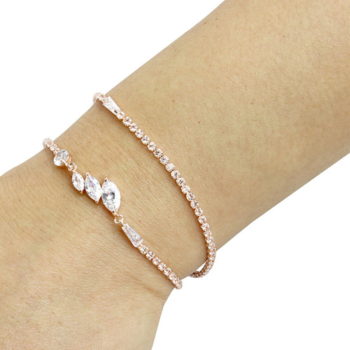 Cubic Zirconia Marquise Cut Layered Bracelet Long Chain Rose Gold