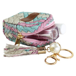 Woven Faux Leather Zippered Bag Keychain Purse Charm Fuchsia and Teal
