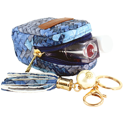 Woven Faux Leather Zippered Bag Keychain Purse Charm Navy and Blue