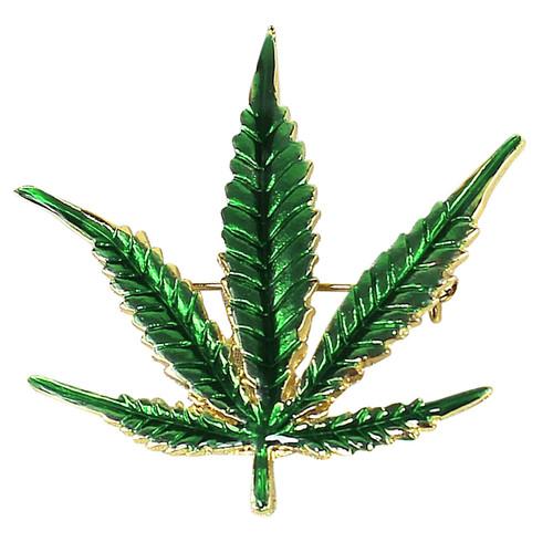 Cannabis Leaf Pin Marijuana Weed Pot Brooch