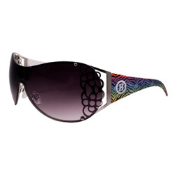 Rimless Shield Style Sunglasses Zebra Print