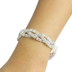 Cubic Zirconia Braided Bracelet Silver