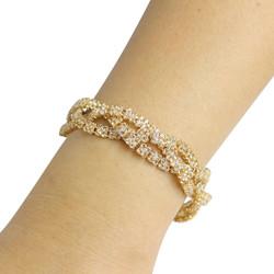 Cubic Zirconia Braided Bracelet Gold