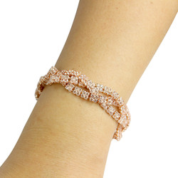Cubic Zirconia Braided Bracelet Rose Gold
