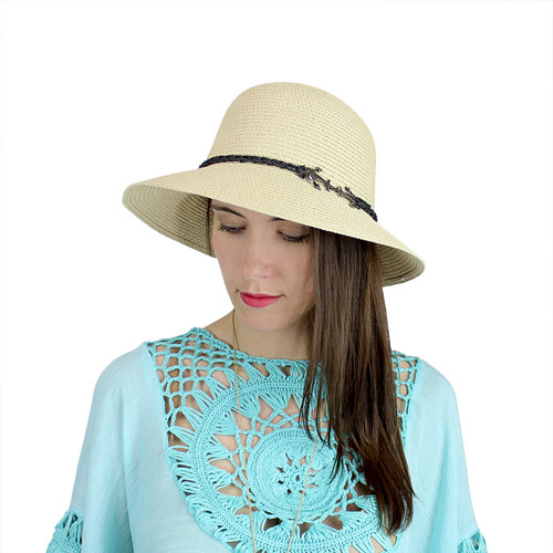 Anchor Charm Straw Hat Bucket Beige