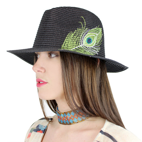 Peacock Virginie Straw Hat Embroidered Feather Black