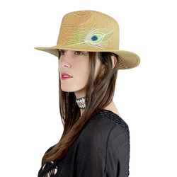 Peacock Virginie Straw Hat Embroidered Feather Khaki