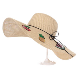 Fruit Patches Floppy Hat Sequined Wide Brim Beige