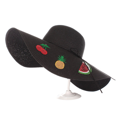 Fruit Patches Floppy Hat Sequined Wide Brim Black