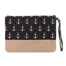 Anchor Makeup Bag Two Toned Canvas Hemp Black