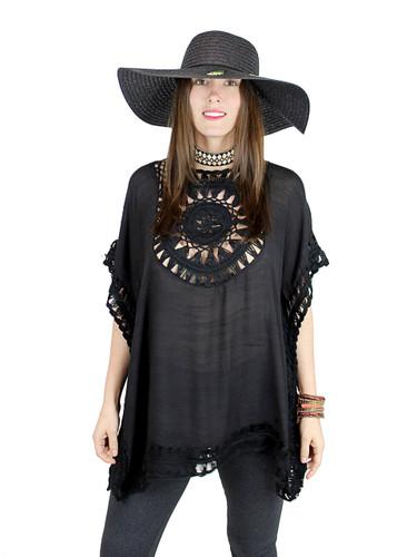 Boho Crochet Tunic Short Sleeves Black
