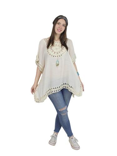 Boho Crochet Tunic Short Sleeves Natural