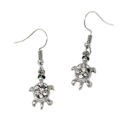 Crystal Turtle Earrings with Fish Hook