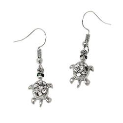 Crystal Turtle Earrings with Fish Hook