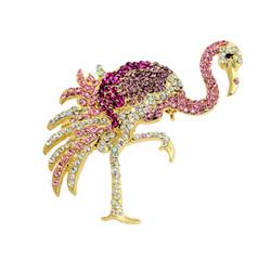 Pink Flamingo Brooch Crystals Pin or Pendant