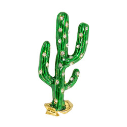 Cactus with Crystals Pin Gold Toned