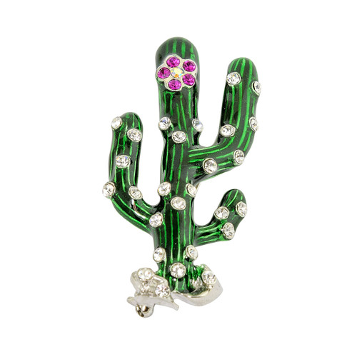 Cactus with Fuchsia Crystals Pin Pendant Silver Toned