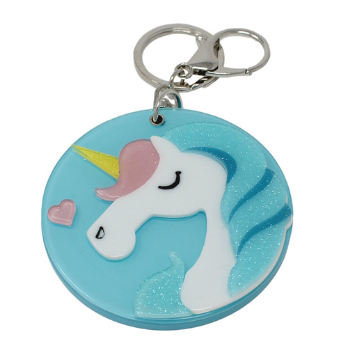 Blue Unicorn Compact Mirror Key Chain Charm