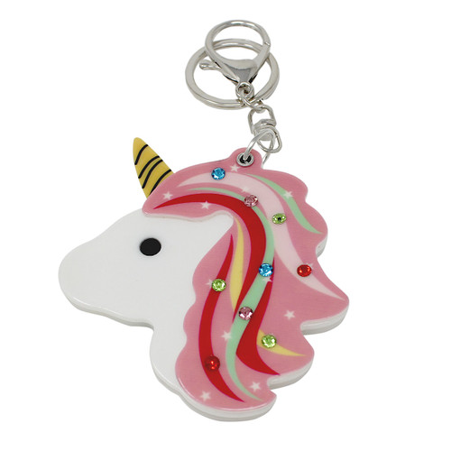 Rainbow Unicorn Compact Mirror Key Chain Charm