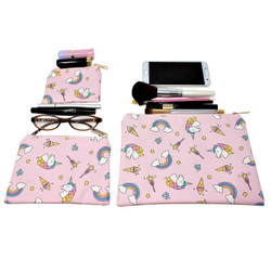 Rainbow Unicorn Cosmetic Bags 3 piece Set
