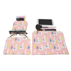 Abstract Llama Cactus Cosmetic Bags 3 piece Set