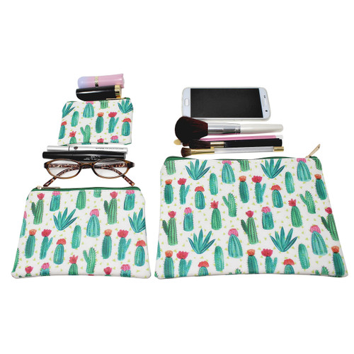 Cactus Cosmetic Bags 3 piece Set