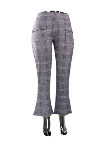 Grey Checkered Print Flare Pants Large Size