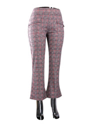 Coral Checkered Print Flare Pants Large Size